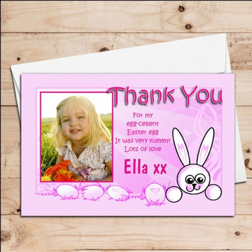10 Personalised Girls Easter Egg Thank you Photo Post Cards N10